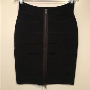 BCBGMaxazria Josey Black Banded Skirt with Zipper